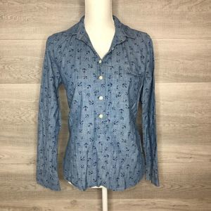 100% Cotton Jean Look Blue J.Crew Small Top Anchor